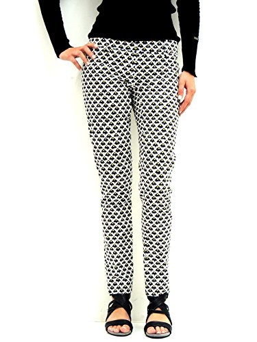 Patrizia Pepe pantalone donna chino a fantasia geometrica 2P0368AZ20 bianco nero 44