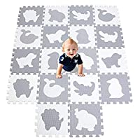 XMTMMD Life Soft Play Mats for Kids Pure Colour EVA Foam Mats Flooring Jiasaw Puzzle Mats Foam Play Mat for Babies and Children Softer Puzzle Mat for Crawling (18pcs,WHITE GRAY) AMP051G301018BH