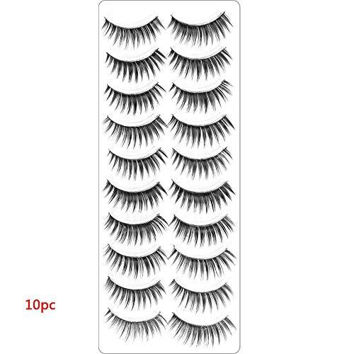 Miji 100 Pairs Reusable False Eyelashes,Elongated Cross Eye Makeup Natural 3D Fake Thick Black Eyelash,1 Pcs Eyelash Curler for Free (#3)
