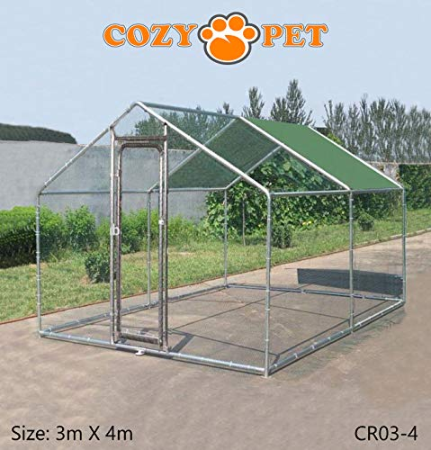 Cozy Pet Chicken Run 3m X 4m Galvanized for Outdoor Use - 6 SIZES AVAILABLE - Suitable for Livestock, Rabbit, Small Pets, Dog, Puppy, etc. Model CR03-4. (We do not ship to Northern Ireland, Scottish Highlands & Islands, Channel Islands, IOM or IOW.)
