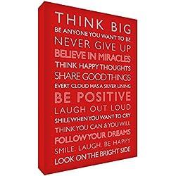 Feel Good Art Leinwand mit inspirierendem Spruch, verpackt in einer Box, 30x 20x 4cm, klein, positive Inspiration, Rot