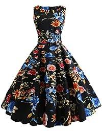 Keepwin Mujer Vintage Vestido AñOs 50 Falda ImpresióN Floral Sin Mangas Vestidos De Fiesta