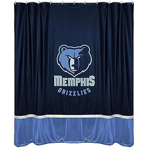 Cortina de ducha Memphis Grizzlies NBA Logo del equipo de pelota de baloncesto de baño diseño rombos y cristales