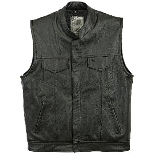 BOS Veste de motard en cuir pour homme, sans manches, noir