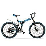 LANKELEISI K660M 24/26 Zoll Faltbares MTB Fahrrad, 21 Geschwindigkeit Klappfahrrad, Abschließbare Gabel, Vordere und Hintere Aufhängung, Beide Scheibenbremse, Mountainbike (Schwarz Blau, 24 inches)