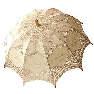ANKKO Western Style Romantic Lace Wedding Parasol Photo Props Costume Umbrella Stick Umbrella, Beige
