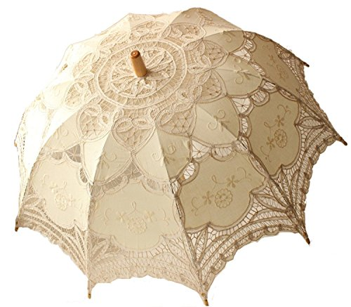 (Whobabe Weiße Hochzeit Lace Sonnenschirm Regenschirm viktorianischen Dame Kostüm Zubehör Bridal Party Dekoration Foto Requisiten (Beige))