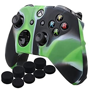 YoRHa Silikon Hülle Abdeckungs Haut Kasten für Microsoft Xbox One X & Xbox One S Controller x 1 (Tarnung grün) Mit Pro aufsätze thumb grips x 8