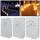 AMOS 10 x Luminary White Paper Tea Light Candle Lantern Bags Hearts Moon & Stars Sun for Wedding Party Outdoor Garden BBQ Christmas Xmas Diwali New Year Decoration