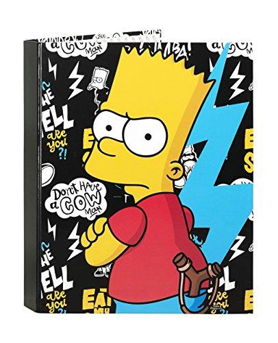 The Simpsons – Contenitore a 4 anelli misti, colore: nero (Safta 511605067)