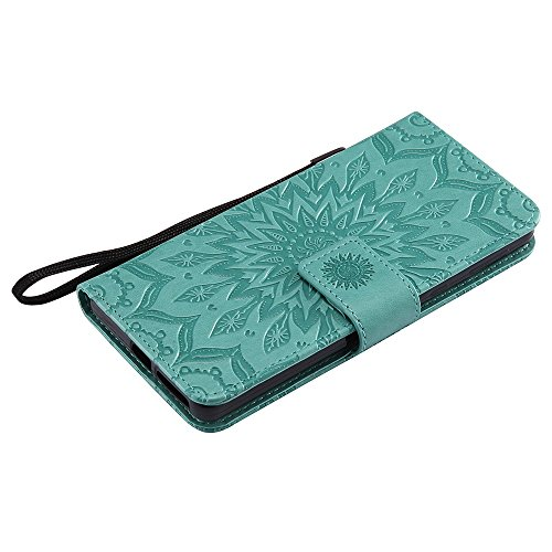 Für Sony Xperia E5 Fall, Prägen Sonnenblume Magnetic Pattern Premium Soft PU Leder Brieftasche Stand Case Cover mit Lanyard & Halter & Card Slots ( Color : Purple ) Green
