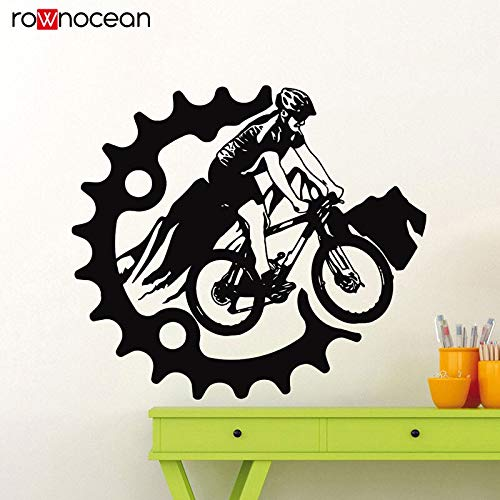 HNXDP Mountainbike Wandaufkleber Fahrrad Hinweis Vinyl Aufkleber Home Garage Raumdekoration Radfahren Sport Radfahrer Wandbild47x42 cm