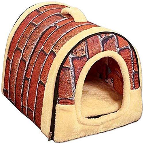 RuiHuang 2 In 1 Warmes Hundebett Haus Und Sofa Warm Hund Katze Hündchen Haustier Nest Mit Abnehmbarem Matratze Wandfarbe XL 70cmX55cm