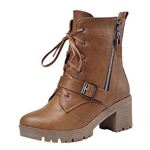 Watopi Lässige Schuhe Damen high Heels Mode Stiefel Schnallen Schuhe Retro Dicker Absatz Damen Mittelrohr Stiefel