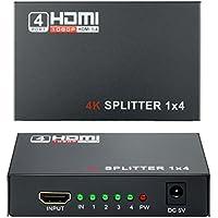 HDMI Switch 1x4 (1 Entrée 4 Sorties), Wrcibo Numérique HDMI Splitter Distributeur avec Full HD 1080P 4K*2K, 3D etc - Noir