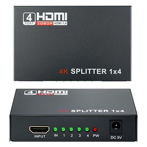HDMI Splitter 1x4 (1 Entrée 4 Sorties), Wrcibo Numérique HDMI Splitter Distributeur avec Full HD 1080P 4K*2K, 3D etc - Noir