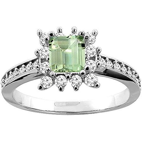Revoni-Bracciale in oro bianco 9 k con ametista verde e diamanti Accents-Anello di fidanzamento, 5 (Accent Diamante Bracciale)