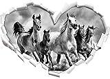 Monocrome, Western Pferde in Wüste mit Fohlen Herz im 3D-Look, Wand- oder Türaufkleber Format: 62x43,5cm, Wandsticker, Wandtattoo, Wanddekoration