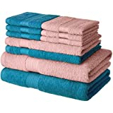 Amazon Brand - Solimo 100% Cotton 10 Piece Towel Set, 500 GSM (Turquoise Blue and Baby Pink)
