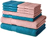 #10: Amazon Brand - Solimo 100% Cotton 10 Piece Towel Set, 500 GSM (Turquoise Blue and Baby Pink)