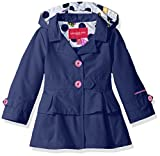 London Fog Baby Girls Ruffle Bottom Trench Jacket with Removeable Hood