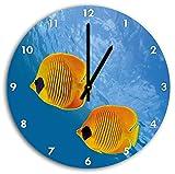 Aquarium Bild auf Wanduhr mit schwarzen spitzen Zeigern und Ziffernblatt, Durchmesser 30cm, perfekte Dekoration für Ihr Zuhause, Super Geschenkidee für groß und klein