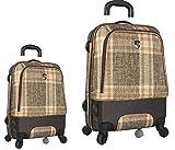 Kofferset, Gepäckset, Reisegepäck by Heys - Premium Designer Hybrid Kofferset 2 TLG. - Hybrid Spinner Aberdeen Braun-Beige Handgepäck + Koffer mit 4 Rollen Medium