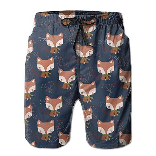 Herren Badehose 3D gedruckte Strand Board Shorts mit Taschen Coole Neuheit Badeanzüge für Teen Boys - Cute Fox (Teen Cute Boys)