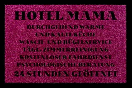 FUSSMATTE Türmatte HOTEL MAMA Muttertag Geschenk Spruch 60x40 cm Schmutzmatte Fuchsia