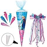 Unbekannt Set _ Schultüte + 5 kleine Zuckertüten -  Disney die Eiskönigin - Frozen  - 35 cm - rund - incl. große Schleife - mit Tüllabschluß - Zuckertüte - mit / ohne..