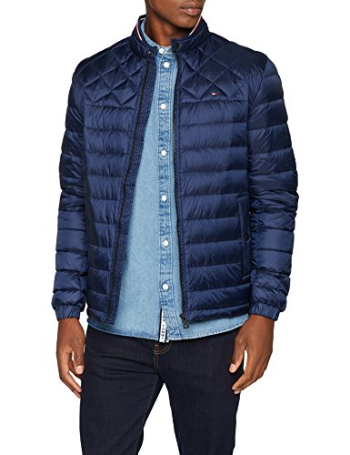 Tommy Hilfiger Herren Bomberjacke C Light Weight Down Bomber, Blau (Navy Blazer 416), Large