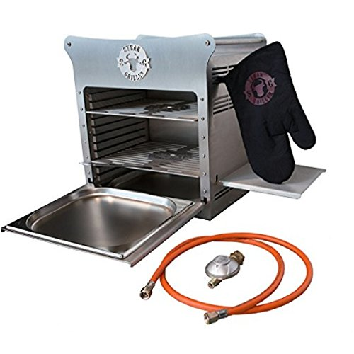 STEAKGRILLER DUO - Premium Edelstahl Gasgrill - 800 Grad Steak Grill Hochtemperaturgrill + Rost , Schale und Grillhandschuh - MADE IN GERMANY