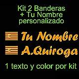 VINILIN - Pegatina Vinilo Bandera Aragon + tu nombre - Bici, Casco, Pala De Padel, Monopatin, Coche, etc. Kit de dos Vinilos (Naranja)