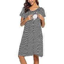 b11697b04 STRIR Camisón Embarazada Maternidad Lactancia Pijama Manga Corta Raya  Hospital Mujer Embarazada Ropa para Dormir Premamá