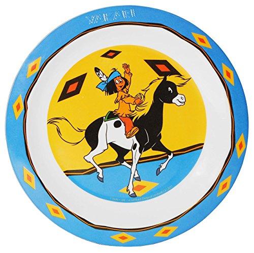 """großer Teller - Kinderteller """" Yakari Indianerjunge & Pferd kleiner Donner """" - ø 22 cm - aus Melamin - Kunststoff / Plastikteller Plastik - Geschirr für Kinder - Mädchen & Jungen - Speiseteller / Pferd Indianer"""
