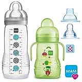 MAM Flaschen Babyflaschen Easy Active Baby Bottle Set Uni // 1 x Baby Bottle 330 ml mit Sauger Gr.2 // 1 x MAM Trainer mit Sauger & Soft-Trinkschnabel