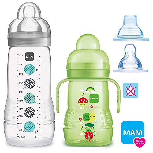 MAM Bottiglie Baby Easy Active Baby Bottle Set//UNI//1 X Baby Bottle 270 ML con tettarella GR. 2/1 X MAM Trainer con aspirapolvere & Soft di Beccuccio