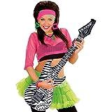 Guitare gonflable décorative zébre 105 cm Guitare à gonfler rocker guitare en plastique Rockstar instrument musique soirée costumée accessoire décoration d'ambiance