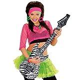 NET TOYS Aufblasbare Gitarre Deko Luftgitarre Zebra Rocker Inflatable Guitar Rockstar Gummigitarre Party Gitarren Instrument Mottoparty Musikinstrument Accessoire Partydeko aufblasbar