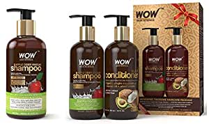 WOW Apple Cider Vinegar No Parabens & Sulphate Shampoo, 300mL And WOW Apple Cider Vinegar Shampoo - WOWsome Twosome No Parabens & Sulphates Hair Care Package – 600mL