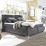 Riess Ambiente Boxspringbett Cozy Velvet 180x200cm grau SAMT Bett 7-Zonen Matratze Bett Doppelbett Polsterbett