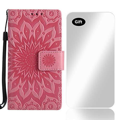 Bear Village Huawei Mate 20 Hülle, Leder PU Cover Magnet Filp Brieftasche Schutzhülle mit Kostenlos Schutzfilm aus Gehärtetem Glas für Huawei Mate 20 (#3 Rosa)