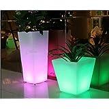 Gowe Outdoor Colorful Altura 26cm PP Glow LED de luz flor Tub Maceta, Inalámbrico, Batería, iluminado cubo de hielo LED cuadrado