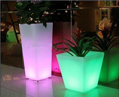 Gowe extérieur coloré Hauteur 26 cm PP Glow LED Pot de fleurs Pot de fleurs lumière sans fil rechargeable, éclairage LED Seau à glace carré