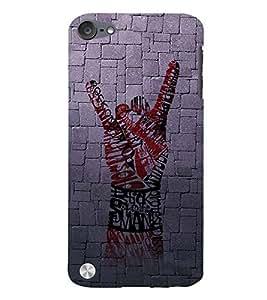 Fuson Designer Back Case Cover for Apple iPod Touch 5 :: Apple iPod 5 (5th Generation) (finger symbol red black hand image)