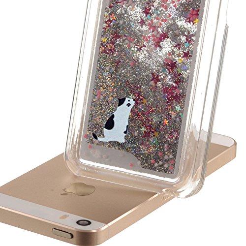 Coque pour iPhone 5C, iPhone 5C, 5C, iPhone 5C Boîtier PC, newstars Rose Motif floral paillettes cristal Blingbling [Fluide Liquide] flottante en caoutchouc transparent plaqué 3D PC PC Coque de pr White Cat,Silver