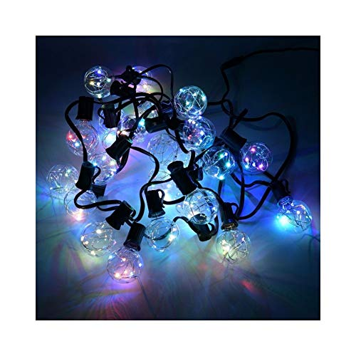 MENHXIANGHUILichterkette 9M 25 G40 LED Globe Lichterketten mit klaren Glühbirnen Backyard Patio Lichter Vintage dekorative Outdoor Garland Hochzeit (Emitting Color : Led RGB-240V) (Lichterketten Globe Klar)