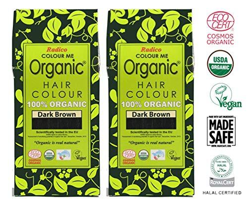 Radico Lots de 2boîtes de coloration végétale Colour Me Organic, brun foncé (bio, végan, cosmétique naturel)