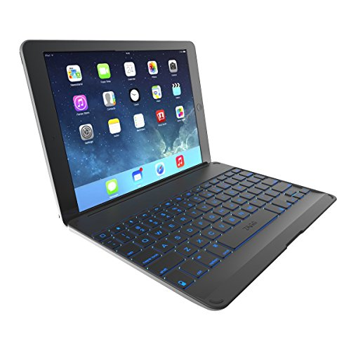 Zagg Cover Case, ausgestattet mit Einer Bluetooth-Tastatur mit Hintergrundbeleuchtung, für iPad Air, Sterngrau (AZERTY)