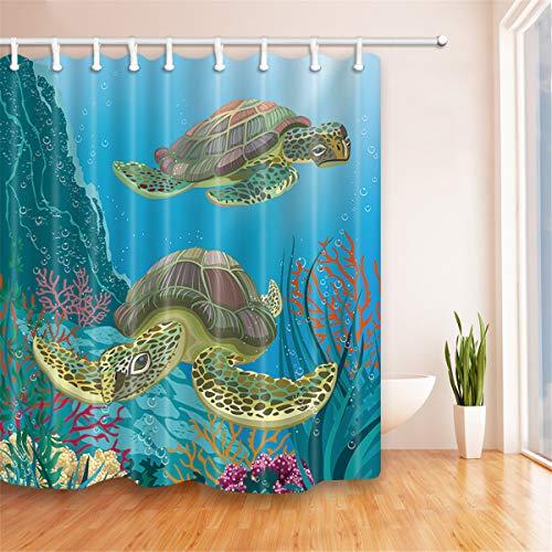 Fansu Duschvorhang Anti-Schimmel Wasserdicht Antibakteriell 3D Ozean Drucken, Polyester Transparent Karikatur Vorhang für Badzimmer Digitaldruck mit 12 Duschvorhangringe (180x180cm,Schildkröte)